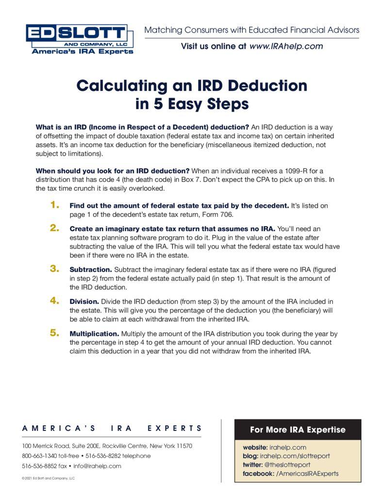 Calculating IRD Deduction