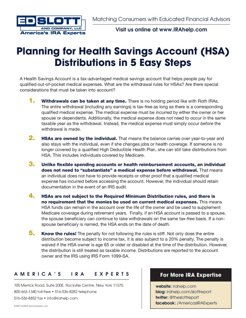 Planning For Health Savings Account Distributions